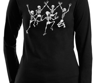 Skeleton, Skull T-Shirt. Dancing Skeletons Women's Plus Size Black Long Sleeve T-shirt, Gift for Her, Artsy T-shirt