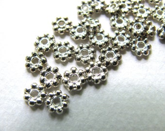 Sterling Silver beads, 10 beads, 2x4mm, daisy beads, 1mm holes, Jewelry supply B-9014