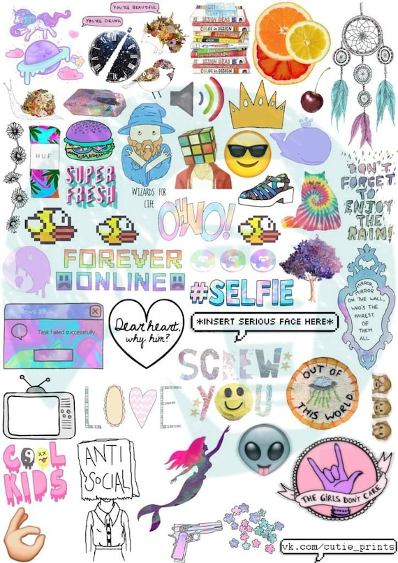 Set 44 tumblr stickers stickers set of stickers decals - Stickers mobili ...