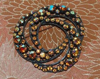 Florenza Aurora Borealis Rhinestone Brooch Vintage 60s Elegance Gold Stones and Finish Large and Lovely Signed