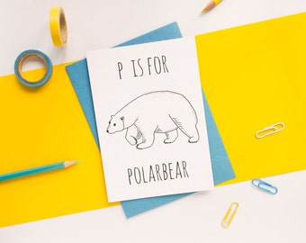 Polar Bear Card / Polar Bear / Bear Card / Animal Alphabet Card / Animal Alphabet / Blank Greeting Card / Notecard / Animal Card