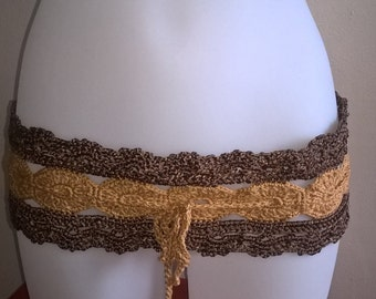 Belt Tan and Brown crochet boho chic
