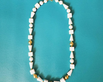 Vintage Trifari Necklace - Chunky White and Gold Statement Necklace - Geometric Lucite Beads - Mod Vibes - Signed