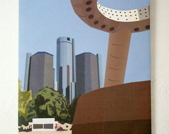Hart Plaza, Detroit 24x36 Canvas Art