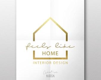 Real Estate Logo. PSD Logo Design. Interior Design Logo. Modern Realtor Logo. Simple House Logo. DIY Branding. Editable PSD Template. #0572.