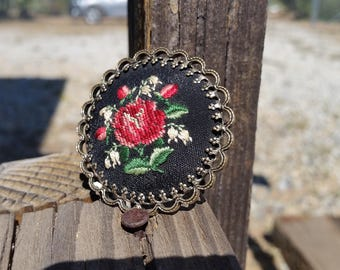 Vintage Embroidery Cross Stich Rose Petit Point Brooch Pendant
