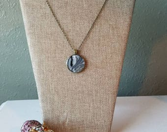 Sliver of Darkness (51) - Original - Round fluid art pendant with chain