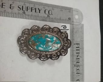 Used silvertone  brooch blue and white stone