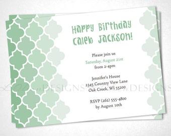 Moroccan Tile Birthday Invitation - Mint Green - DIY Printable