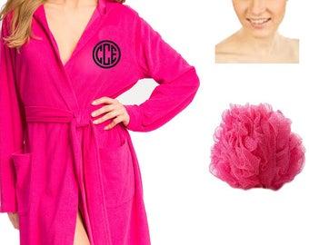 3pc. Ladies Plush Robe Set with Glitter Monogram