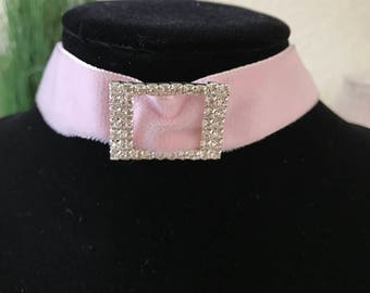 "1"" pale blush pink velvet with crystal buckle"