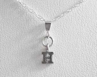 Initial Letter H Mini Pendant Charm and Necklace- Letter H, Initial H, Letter H Pendant, Letter H Charm, Initial H Pendant, Initial H Charm