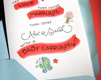 Personalized Baby Congratulations Card - New Mom, New Parents Gift Card - Baby Shower Card