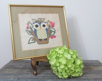 Vintage Owl Art, Framed Needlepoint, Owl Wall Decor, Kitschy Owl, Big Eye Art, Handcrafted Artwork