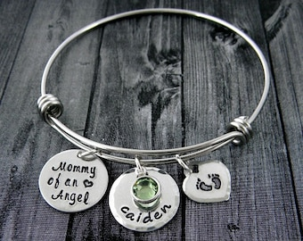Mommy of an Angel / Miscarriage / Infant Loss Jewelry / Wire Bangle Bracelet / Personalized / Hand Stamped