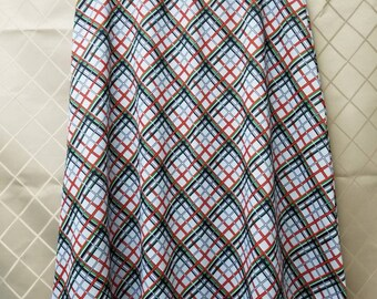 Union Labeled Polyester Plaid Stretchy Woman's Skirt Medium/Large Made in the USA