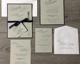 Rustic Wedding Invitation, Navy and Gray Invitation, Navy Wedding Invitation, Modern Wedding Invitation, Gray Wedding Invitation