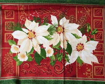 Fabric patchwork/decorating 1 flower of Christmas 1 sticker