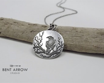 Crow necklace, crow pendant, sterling silver, totem, corvid, raven, spread your wings, bird on branch, fly, trees, talisman, poe, nevermind