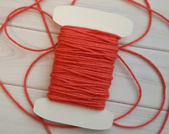 10 Yards Solid Coral Baker's Twine, Divine Twine Baker's Twine, 100% Cotton