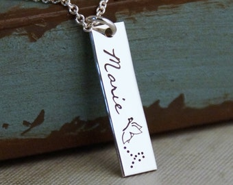 Hand Stamped Necklace / Personalized Mommy Jewelry / Custom Name Tag / Vertical Tag Necklace / My Special One