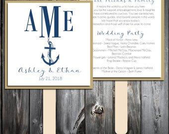 Nautical Beach Anchor Program Fans Kit -  Printing Included. Wedding ceremony programs