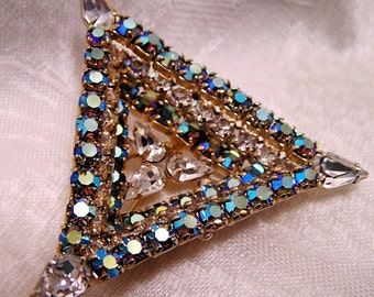 Vintage  Art Deco Inverted Tier Triangle Brooch Juliana Quality and Style Aurora Borealis and Clear Rhinestones (J79)