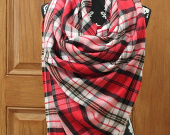 Oversized Red Flannel Blanket Scarf