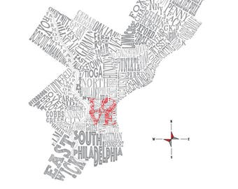 "Philadelphia Neighborhood Map 11 x 14"" Print"