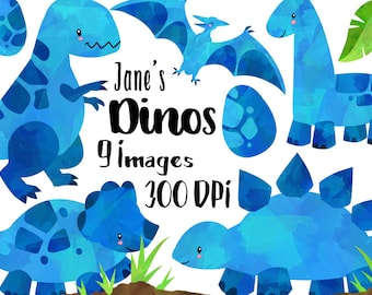 Watercolor Dinosaurs Clipart - Blue Dinosaur Download - Instant Download - T-Rex, Brontosaurus - Triceratops - Pterodactyl