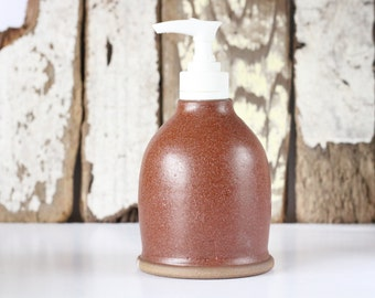 Ceramic Soap Dispenser / Soap Dispenser with Pump / Earth Tone Soap Dispenser / Ready to Ship
