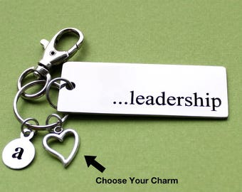 Personalized Leadership Key Chain Stainless Steel Customized with Your Charm & Initial - K402