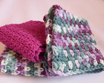 Crocheted Dish Cloths, Dish Cloths Set of 3, Purple dish cloths