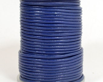2mm Round Leather - Dark Blue - L2-9711 - Choose Your Length
