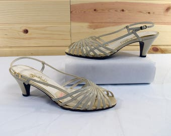 Pappagallo Vintage 80s White Leather Strappy Slingback Heels Size 6.5M Made in Spain