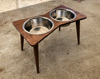 Mid Century Elevated Dog Bowl Stand with Bowls