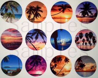 "1"" Inch Beach Landscape Flatback Buttons, Pins or Magnets 12 Ct. Set A"