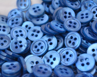 Beautiful BLUE Colored Mother of Pearl MOP Buttons - Choose 18L 16L 14L Made in ITALY