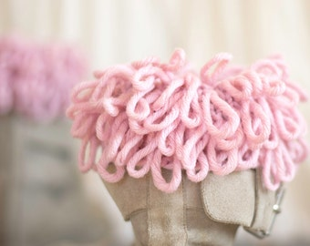Chunky Fluffy Boot Cuffs in Pastel Pink, Leg Warmers, Boot Toppers, Hand-knitted Bohemian Winter Accessories