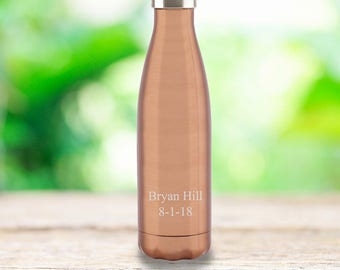 Personalized Copper Stainless Steel Water Bottle - Monogrammed Water Bottle - Gifts for Dad - Grad Gift - Gifts for Groomsmen - GC1585