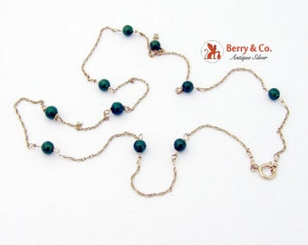 SaLe! sALe! 14K Gold Beaded Chain Necklace Nephrite