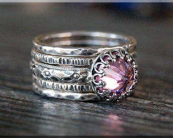 Set of 5 Sterling Silver Birthstone Rings, Birthstone Ring Stack, Inverted Gemstone Ring, Choose Your Birthstone, Birthstone Gift