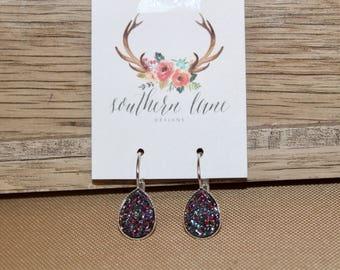 Purple Teal Rainbow Teardrop Druzy Earrings