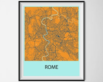 Rome Map Poster Print - Orange and Blue