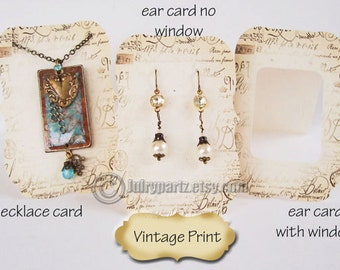 24•VINTAGE PRINT•Earring Cards•Jewelry cards•Necklace Card•Earring Display•Earring Holder•Necklace Holder•Tent Card