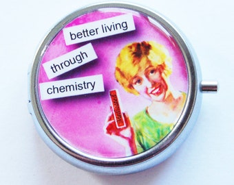 Funny Pill Box, Pill Case, Pill Container, Pill box, humor, Pink, Gift for her, gift for mom, Chemistry, pink (630)