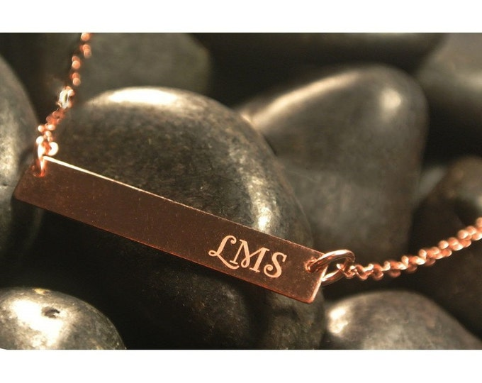 Horizontal Bar Necklace Personalized, Unique, Custom,Yellow Gold Rose Gold Sterling Silver Mom,