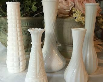 Beautiful Set of 5 vintage Milk Glass Vases, Wedding Perfect Milk Glass Vase Set