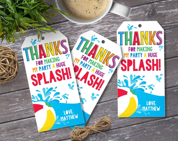 Pool Party Favor Tag - Thank You Tags, Birthday Party Favors, Summer, Self-Editing | DIY Editable Text INSTANT DOWNLOAD Printable