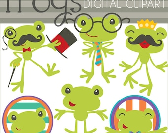 Frogs Clipart -Personal and Limited Commercial Use- Nerd Frog, Mustache Frog, Frog Prince Clip art